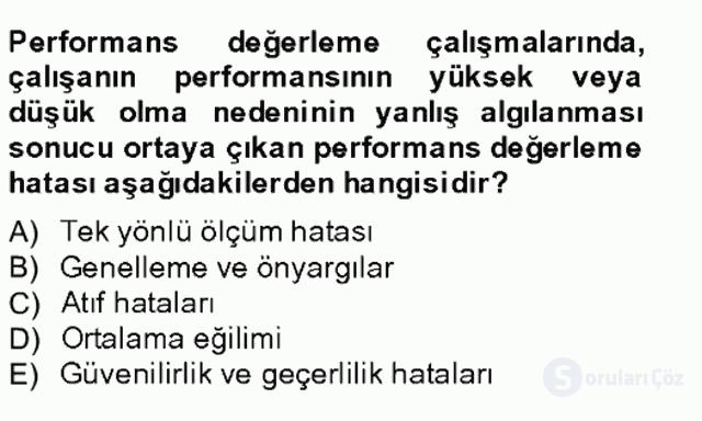 Performans Yönetimi Tek Ders Sınavı 19. Soru
