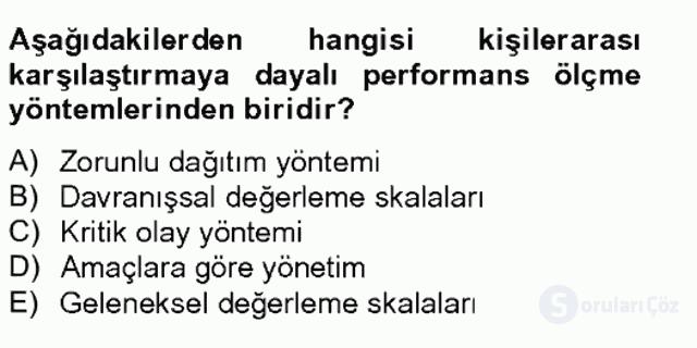 Performans Yönetimi Tek Ders Sınavı 7. Soru