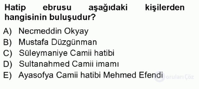 İslâm Sanatları Tarihi Tek Ders Sınavı 11. Soru