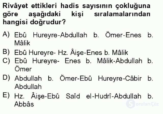 Hadis Tarihi ve Usulü Tek Ders Sınavı 13. Soru