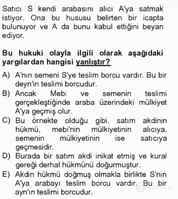 İslâm Hukukuna Giriş Tek Ders Sınavı 15. Soru