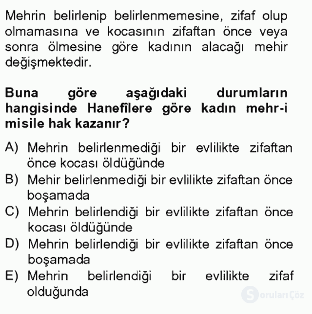 İslâm Hukukuna Giriş Tek Ders Sınavı 17. Soru