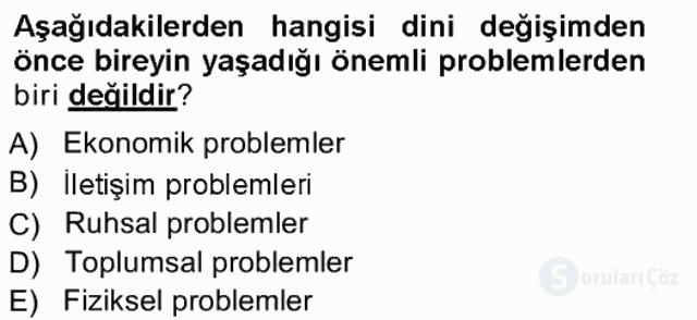 Din Psikolojisi Tek Ders Sınavı 19. Soru