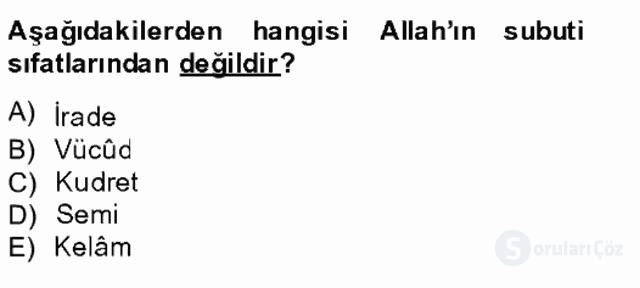 Kelâm'a Giriş Tek Ders Sınavı 15. Soru