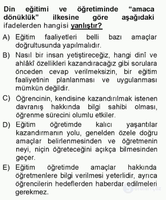 Din Eğitimi ve Din Hizmetlerinde Rehberlik Tek Ders Sınavı 9. Soru