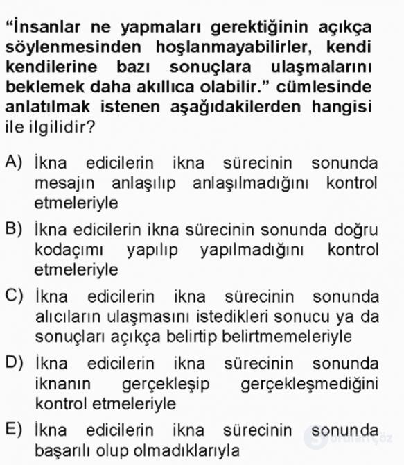 İkna Edici İletişim Tek Ders Sınavı 13. Soru
