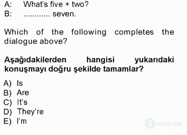İngilizce I Tek Ders Sınavı 1. Soru
