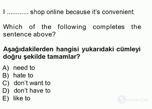 İngilizce I Tek Ders Sınavı 10. Soru