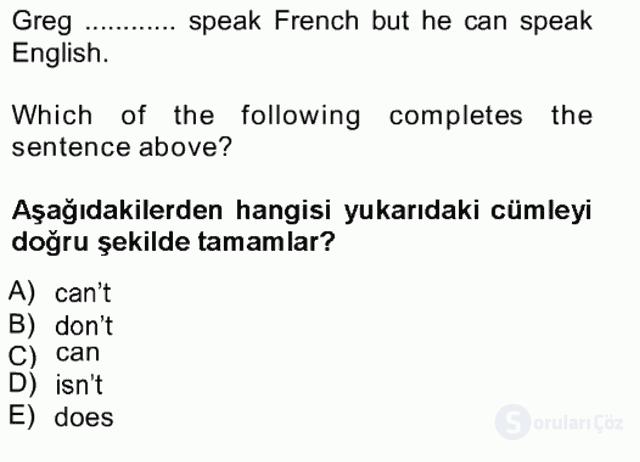 İngilizce I Tek Ders Sınavı 11. Soru