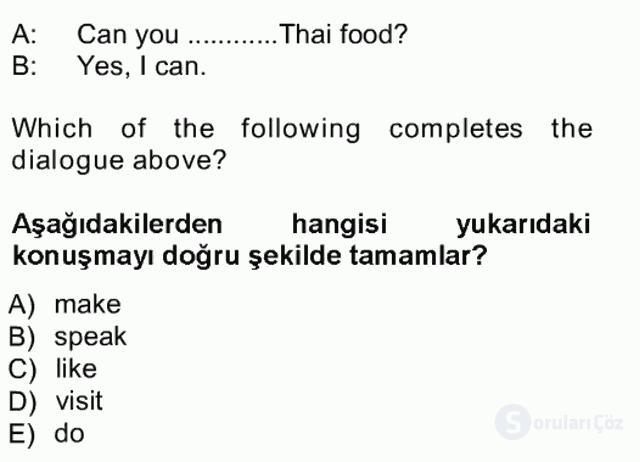 İngilizce I Tek Ders Sınavı 12. Soru