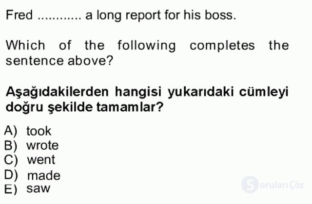İngilizce I Tek Ders Sınavı 14. Soru