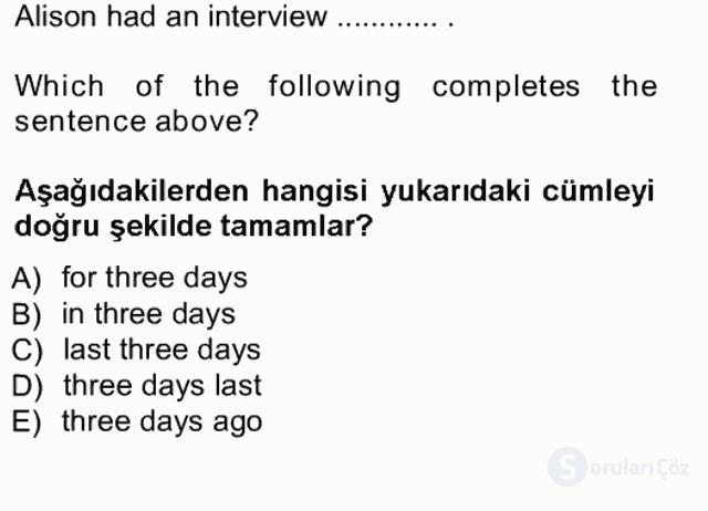 İngilizce I Tek Ders Sınavı 15. Soru