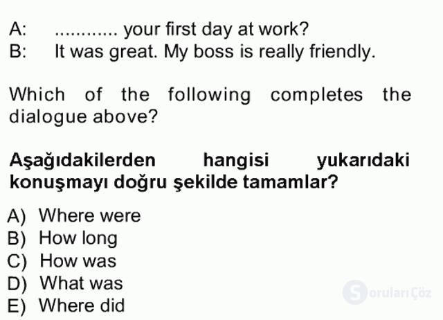 İngilizce I Tek Ders Sınavı 17. Soru