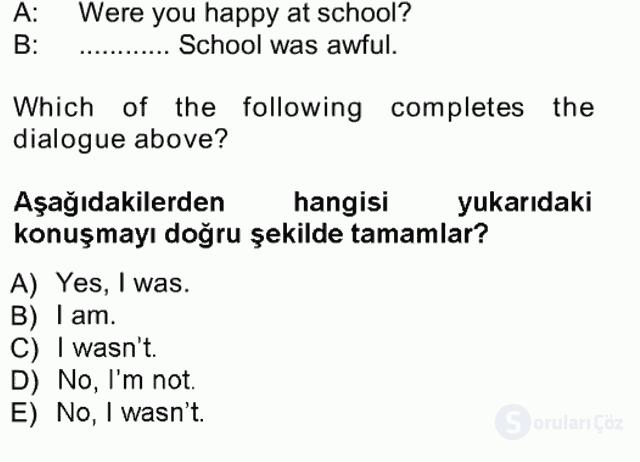 İngilizce I Tek Ders Sınavı 18. Soru