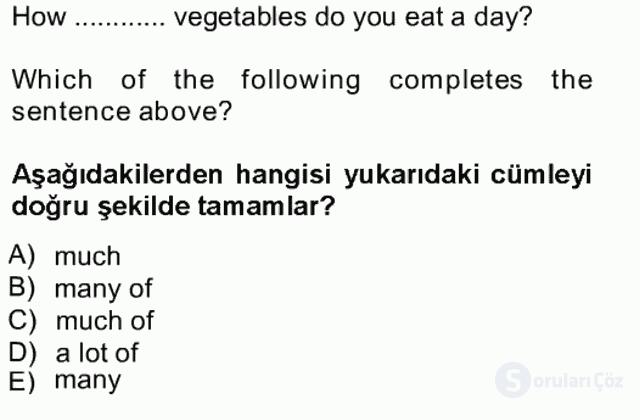 İngilizce I Tek Ders Sınavı 19. Soru