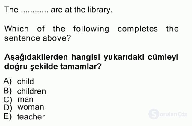 İngilizce I Tek Ders Sınavı 2. Soru