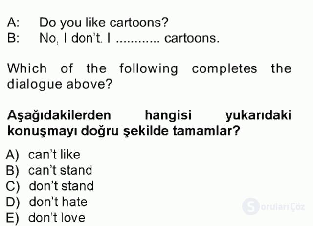 İngilizce I Tek Ders Sınavı 3. Soru