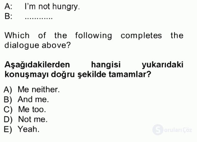 İngilizce I Tek Ders Sınavı 4. Soru