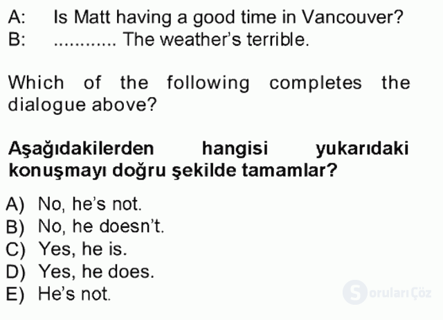 İngilizce I Tek Ders Sınavı 5. Soru