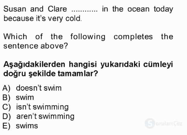 İngilizce I Tek Ders Sınavı 7. Soru