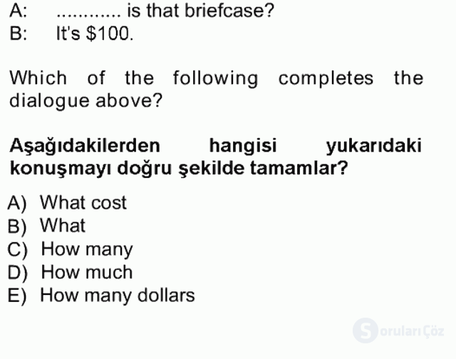 İngilizce I Tek Ders Sınavı 8. Soru