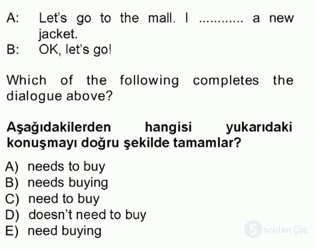 İngilizce I Tek Ders Sınavı 9. Soru