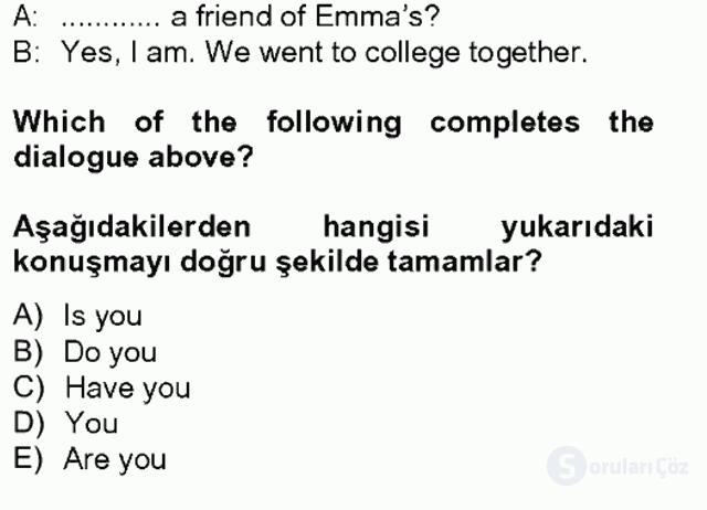 İngilizce II Tek Ders Sınavı 1. Soru
