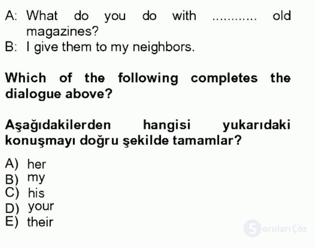 İngilizce II Tek Ders Sınavı 10. Soru