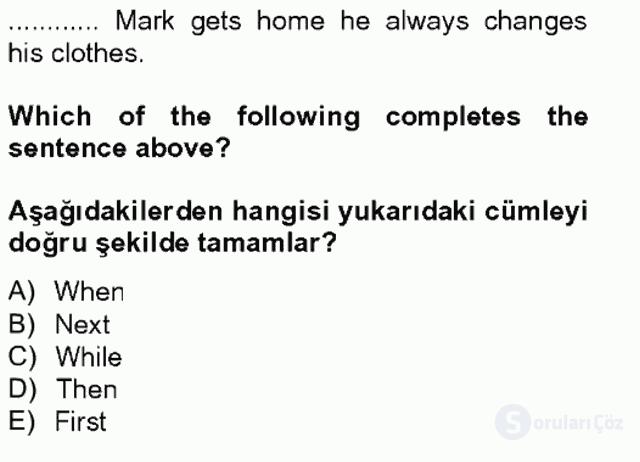 İngilizce II Tek Ders Sınavı 12. Soru