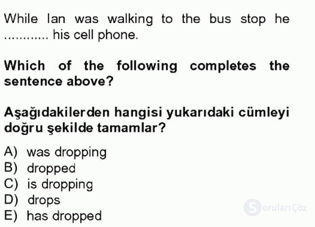 İngilizce II Tek Ders Sınavı 13. Soru