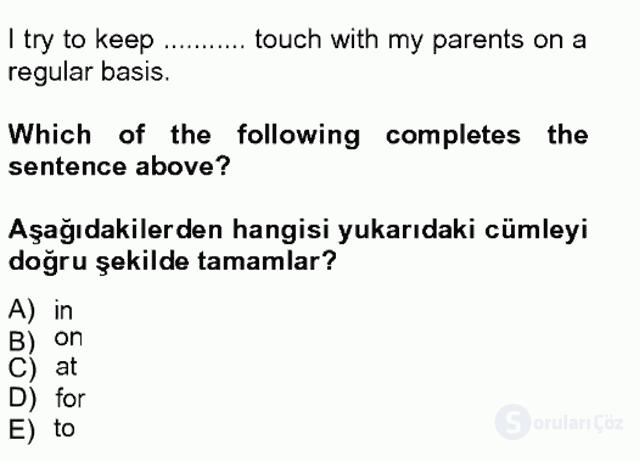 İngilizce II Tek Ders Sınavı 15. Soru