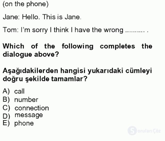 İngilizce II Tek Ders Sınavı 16. Soru