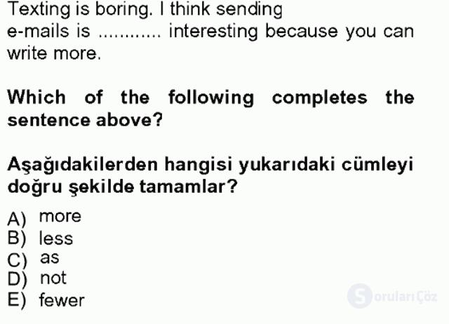 İngilizce II Tek Ders Sınavı 17. Soru