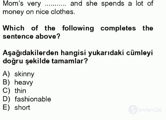 İngilizce II Tek Ders Sınavı 18. Soru