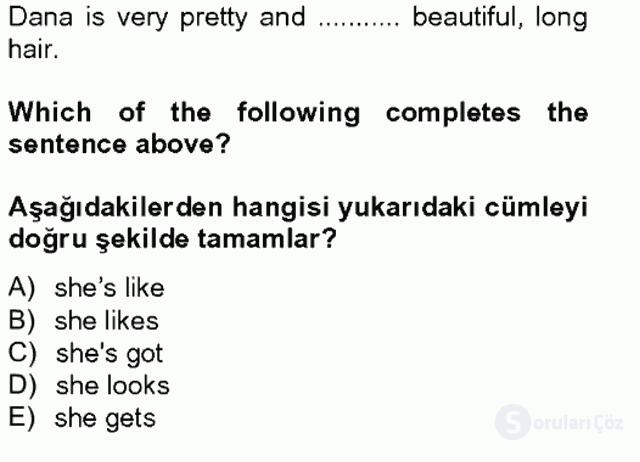 İngilizce II Tek Ders Sınavı 19. Soru