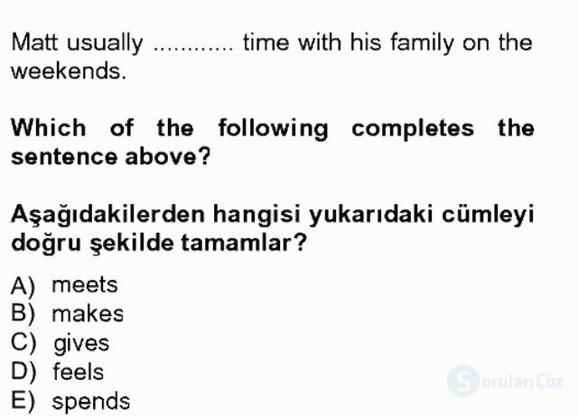 İngilizce II Tek Ders Sınavı 2. Soru