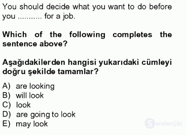 İngilizce II Tek Ders Sınavı 20. Soru