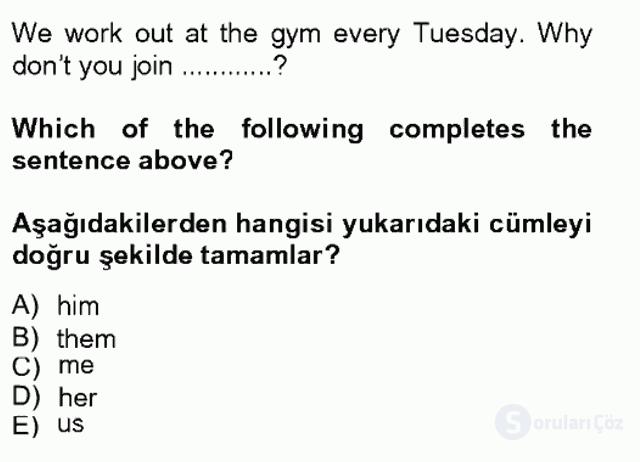 İngilizce II Tek Ders Sınavı 3. Soru