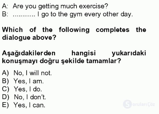 İngilizce II Tek Ders Sınavı 4. Soru