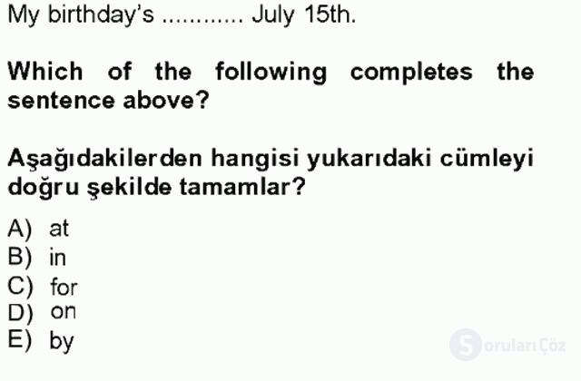 İngilizce II Tek Ders Sınavı 5. Soru