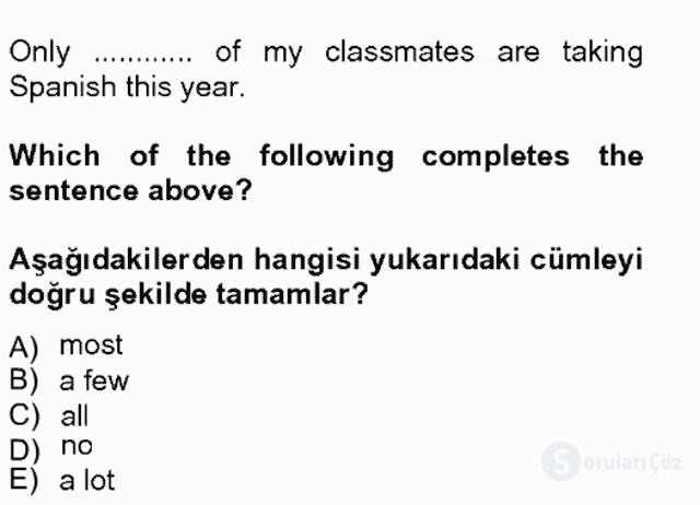 İngilizce II Tek Ders Sınavı 6. Soru