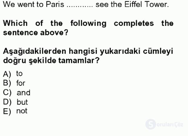 İngilizce II Tek Ders Sınavı 8. Soru