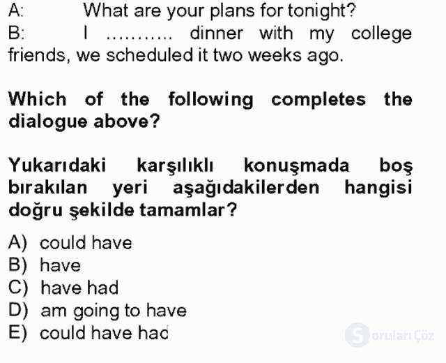 Turizm İçin İngilizce II Tek Ders Sınavı 1. Soru