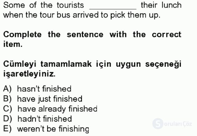 Turizm İçin İngilizce II Tek Ders Sınavı 16. Soru