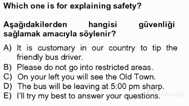 Turizm İçin İngilizce II Tek Ders Sınavı 2. Soru
