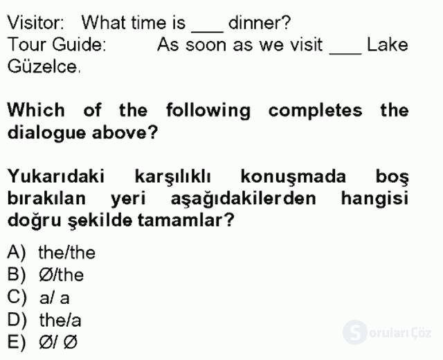Turizm İçin İngilizce II Tek Ders Sınavı 8. Soru