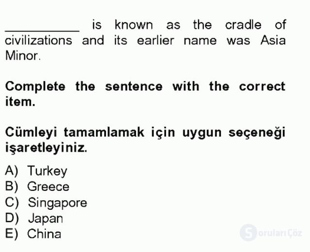Turizm İçin İngilizce II Tek Ders Sınavı 9. Soru