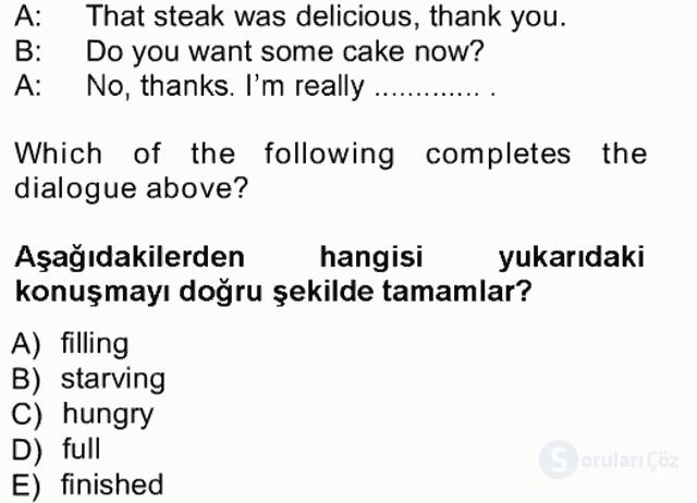 İngilizce III Tek Ders Sınavı 1. Soru