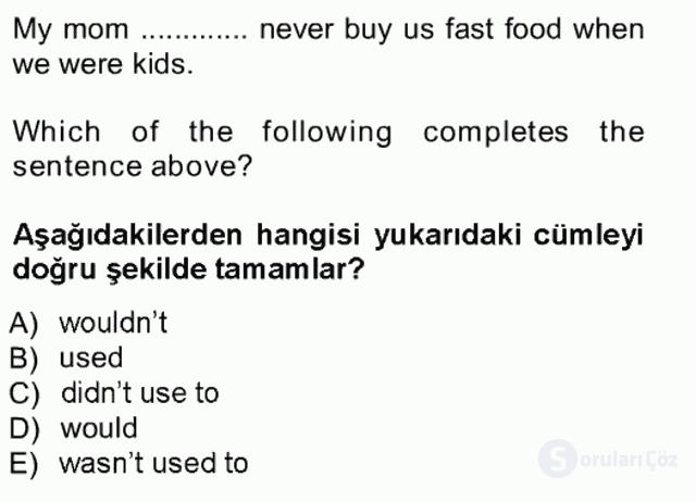 İngilizce III Tek Ders Sınavı 12. Soru