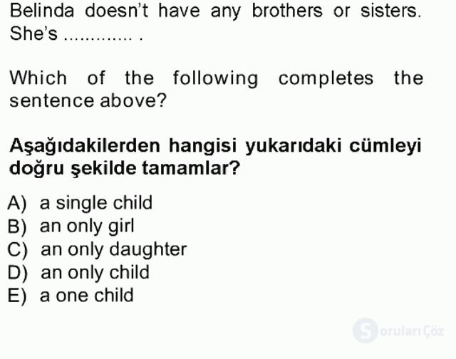 İngilizce III Tek Ders Sınavı 13. Soru